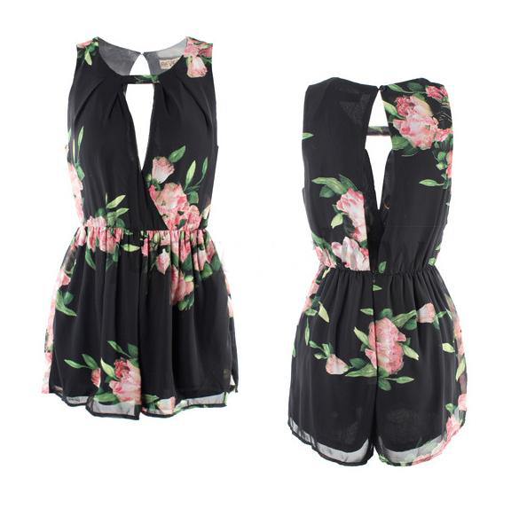 New Sexy Women Lady Floral V Neck Sexy Hollow Out Jumpsuits Pants Romper