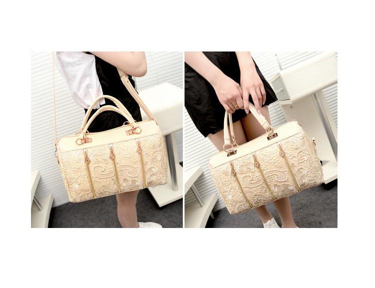 New Women Retro Lace Floral Zip Solid Strap Shoulder Bag PU Purse Handbag