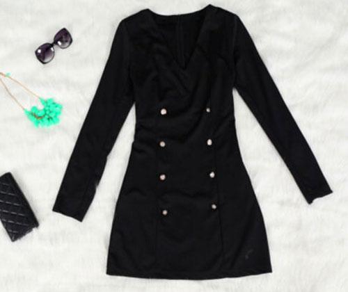 New Women Deep V Neck Black Slim Elegant Button Long Sleeve Cocktail Mini Dress