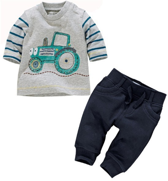 New Toddlers Baby Kids Boys Car Strip Tops Pants Suit Two Pieces Outfits