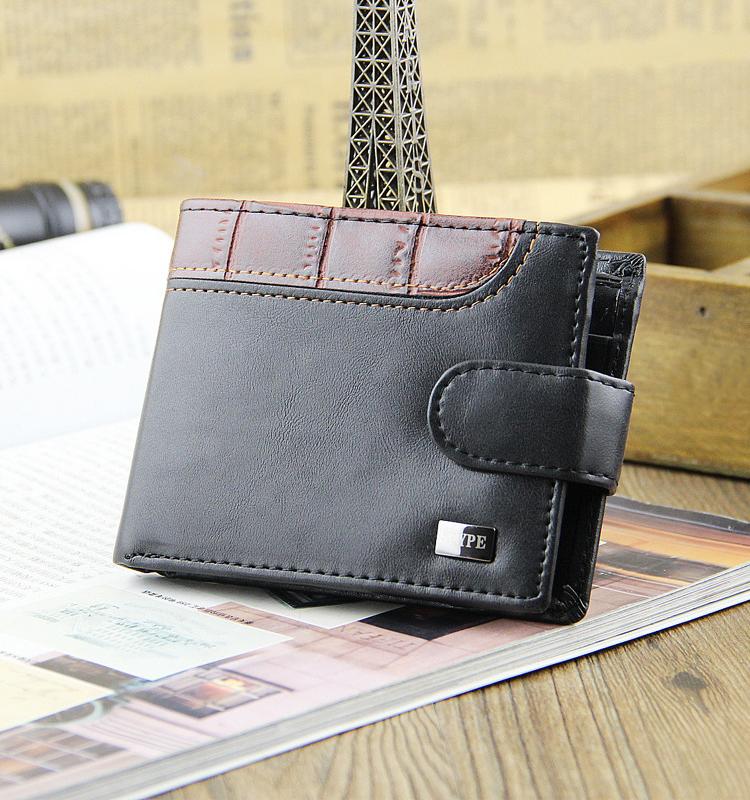 Fashion Men Clutch PU Leather Soft Square Short Crocodile Print Coin Wallet