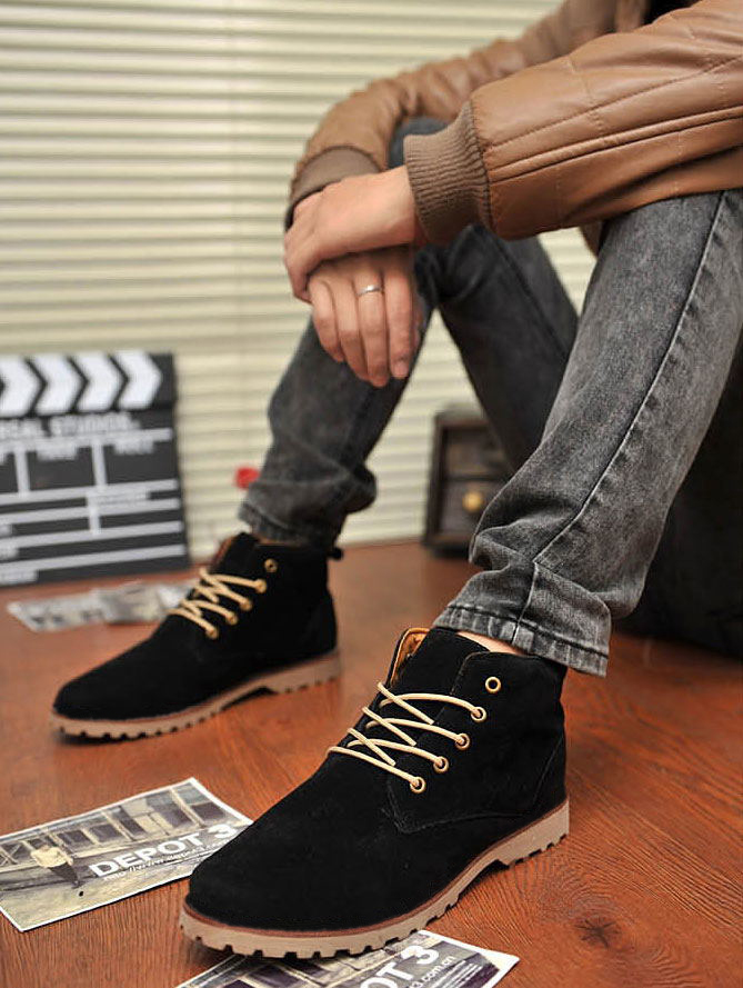 Fashion Men Suede Lace Up Warm Dance Sneakers Trainer Boots High Top Shoes