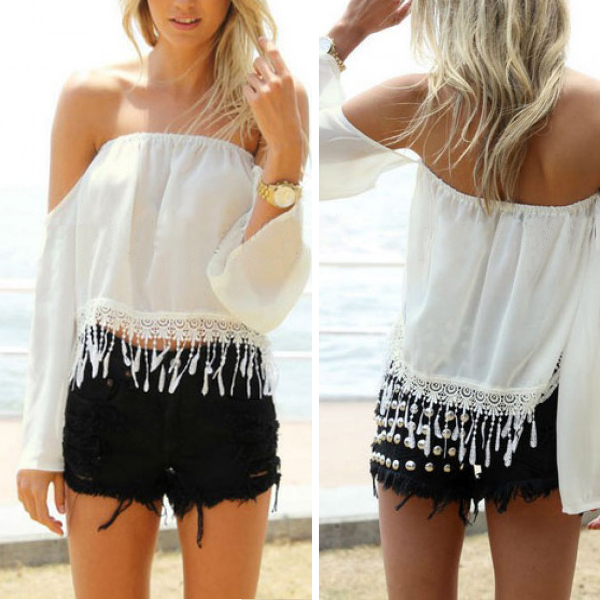 Fashion Women Off Shoulder Blouse Loose Tops Lace Shirt Sexy Boho Crop Top