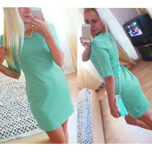 Summer Women Sexy O Neck Half Sleeve Bodycon Slim Hip Package Skirt Mini Dress