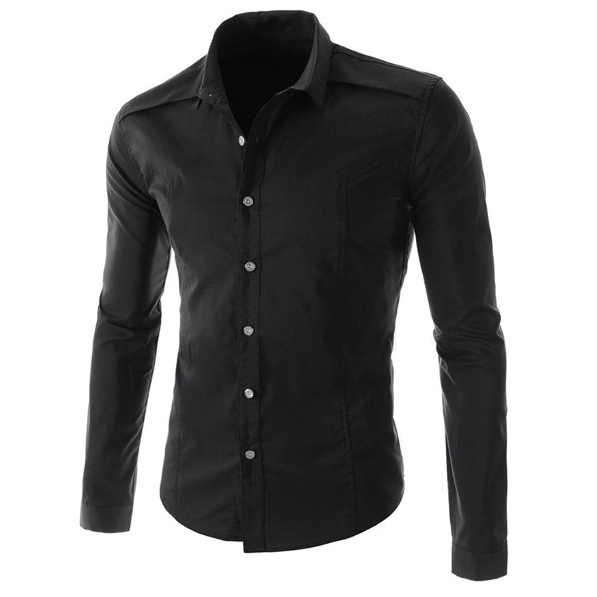Men Fit Stand Collar Button Down Slim Long Sleeve Tops