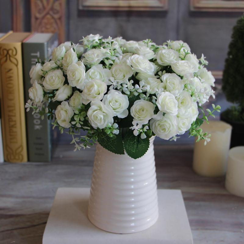 Pretty 15 Buds 1 Bouquet Rose Artificial Silk Flower Decoration Bridal Home