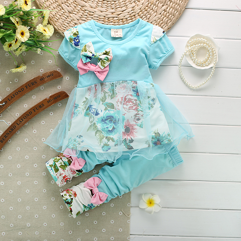 New Baby Kids Girl's Bowknot Floral Top Cotton Mesh Outfit Set T-Shirt Pants