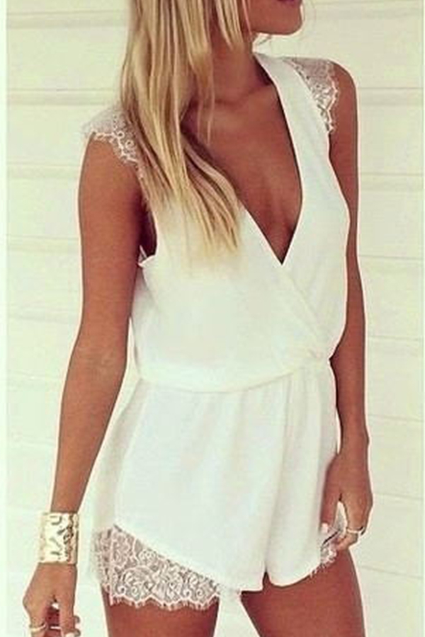 New Summer Women V Neck Chiffon Jumpsuit Lace Splicing Casual Playsuit Romper