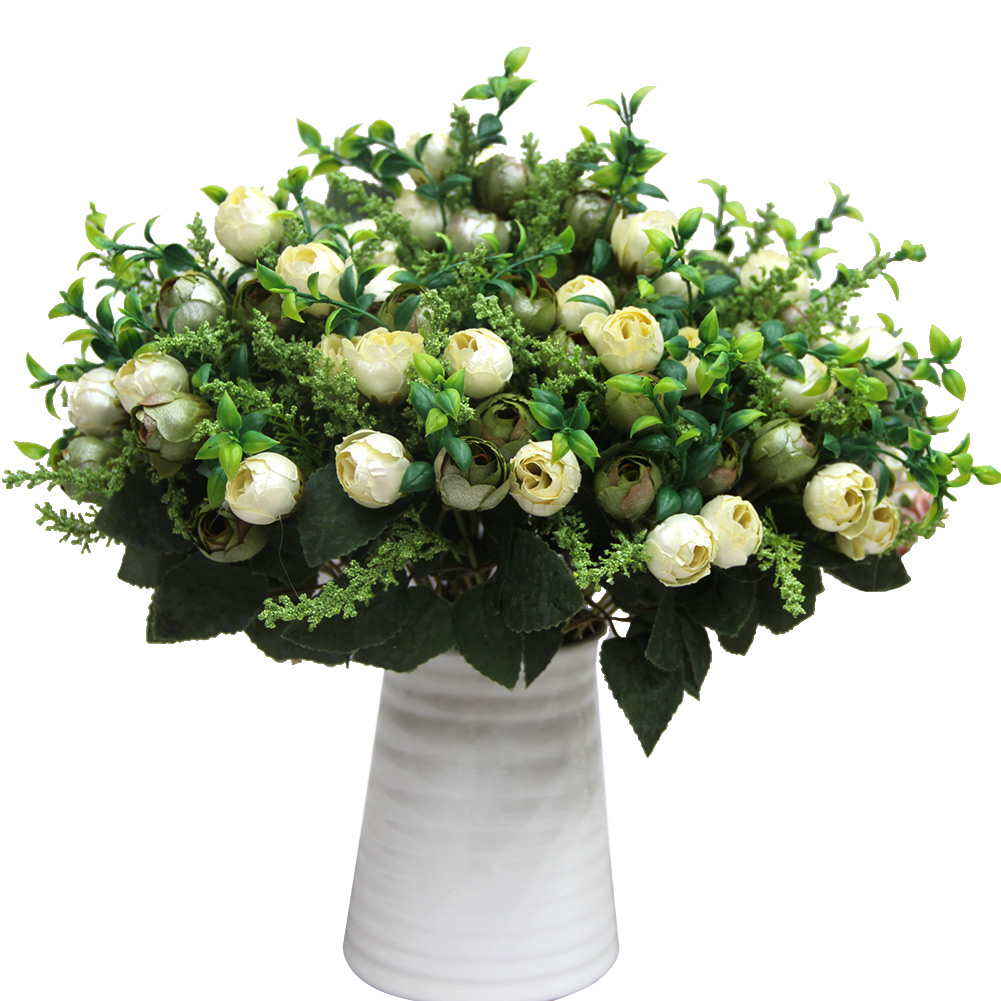 Rose Tea Bud Bouquet Pearl Bridal Artificial Silk Flowers Party Decor