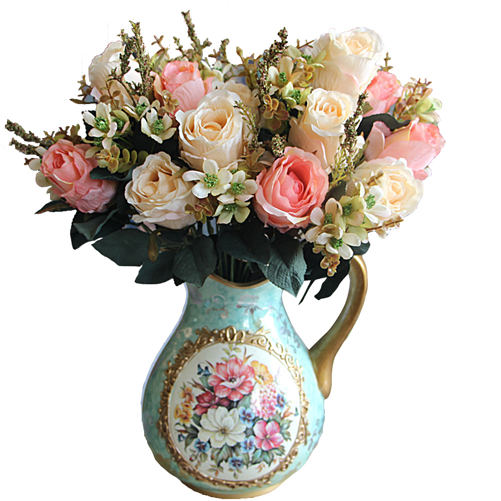 Large Earl Rose Bouquet Multi Color Artificial Flowers ...