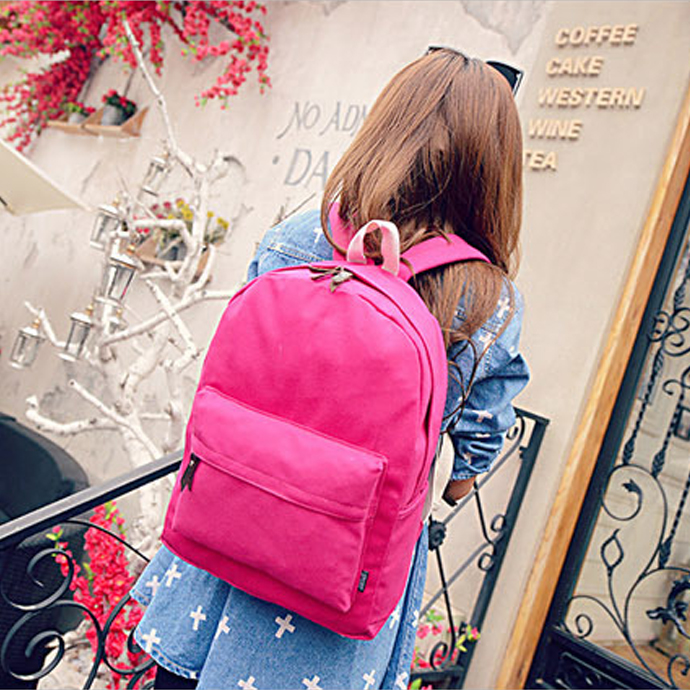 HOT Women Canvas Satchel Solid Backpack Travel Camping Hiking Stylish Vogue Bag