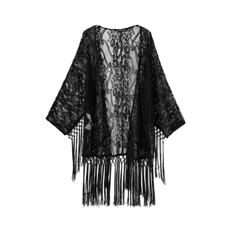 Summer Women Boho Sunblock Beach Tassels Top Coat Open Kimono Cardigan Blouse