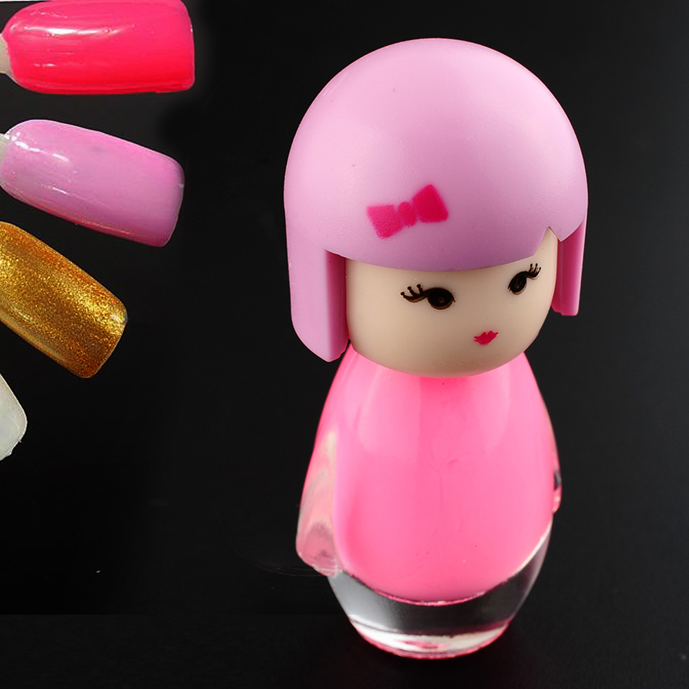 New Lovely Baby Doll Design Nail Art Polish Glitter Pure Color Varnish