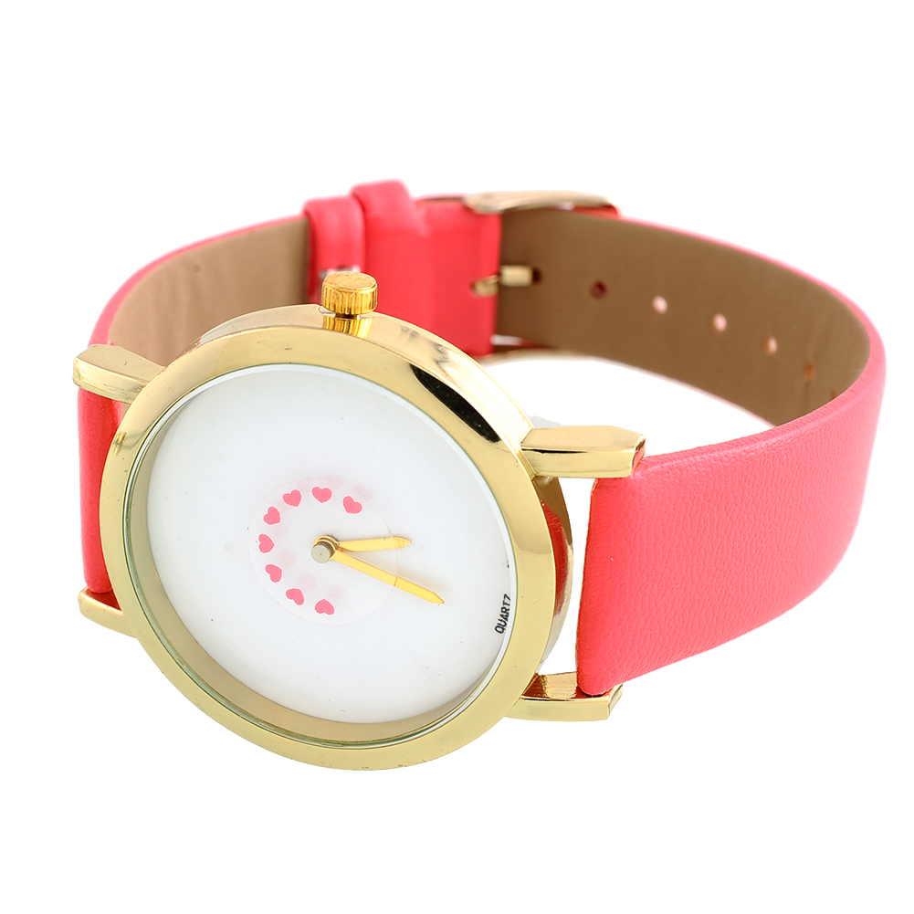 Simple Womens Unisex Faux Leather Band Love Wristwatch Quartz Analog Watch