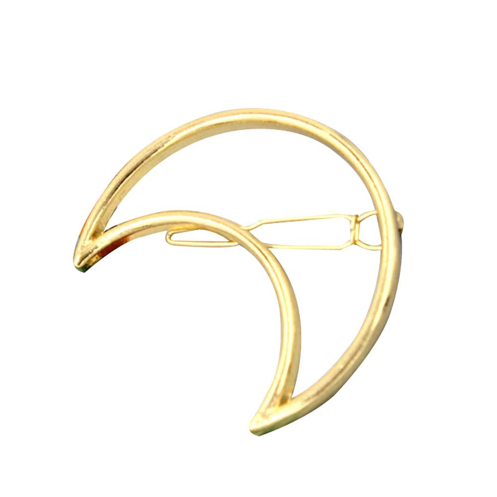 Fashion Women Girl Punk Hollow Moon Triangle Gold Hair Clip Hairpin Hairwear