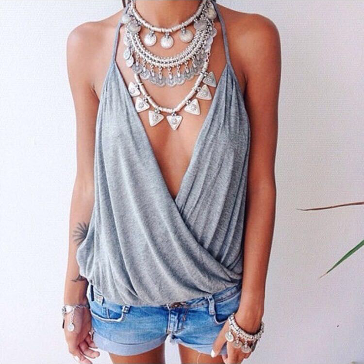 New Women Summer Casual Tops Deep V Vest Cami Blouse Shirt Tee T-Shirt