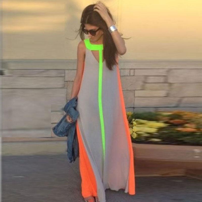 New Women Summer Sleeveless Boho Cocktail Beach Long Maxi Sundress Dress