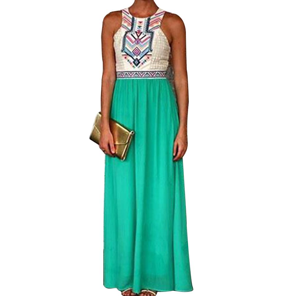 New Women's Lady Summer Sleeveless Evening Beach Floral Long Dress Sundress