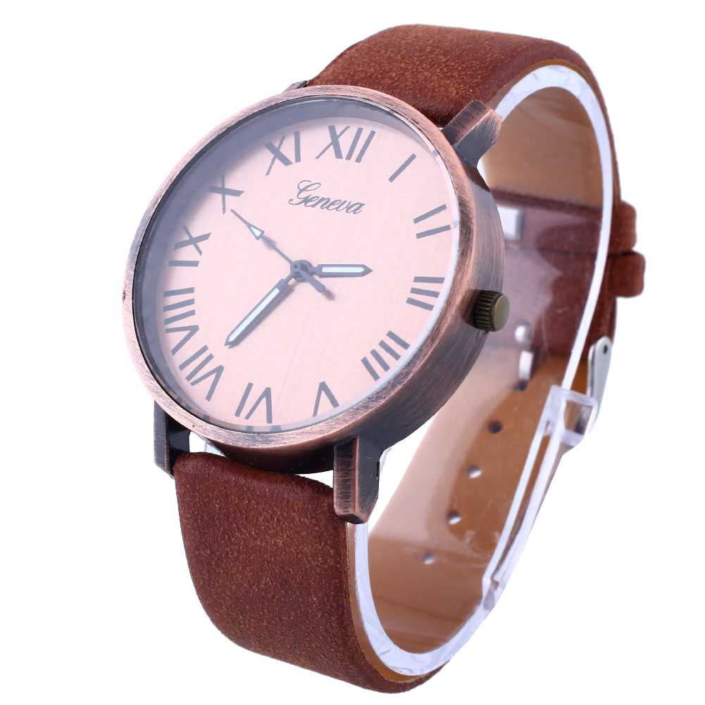 Fashion Women Men's Casual Stainless Steel Leather Quartz Analog Wrist Watch