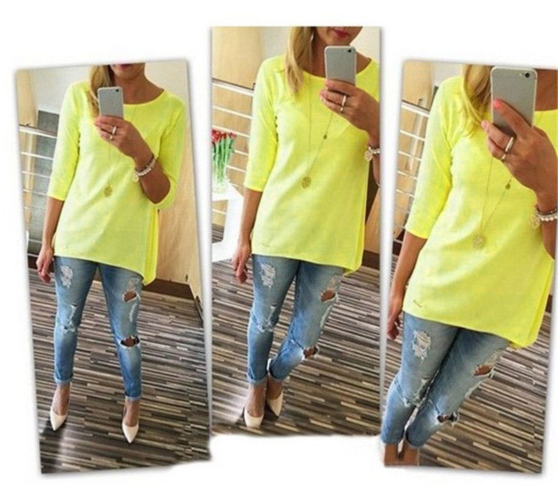 Hot Fashion Womens Loose Pullover Tops BOHO Shirt Casual Blouse mini Dresses