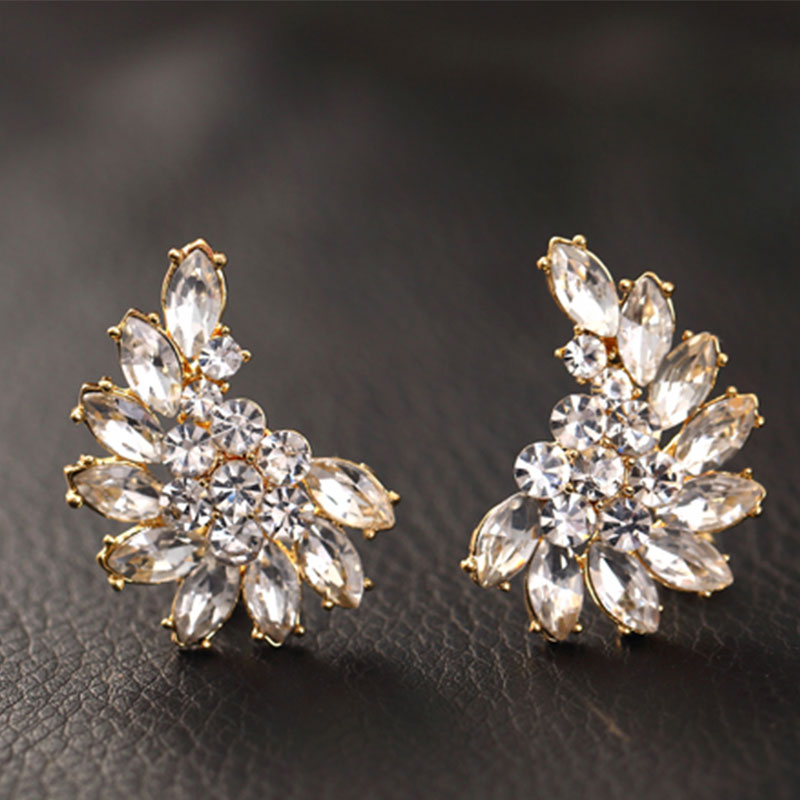 Womens Fashion Korean Elegant Jewelry Crystal Ear Stud Earrings Flower