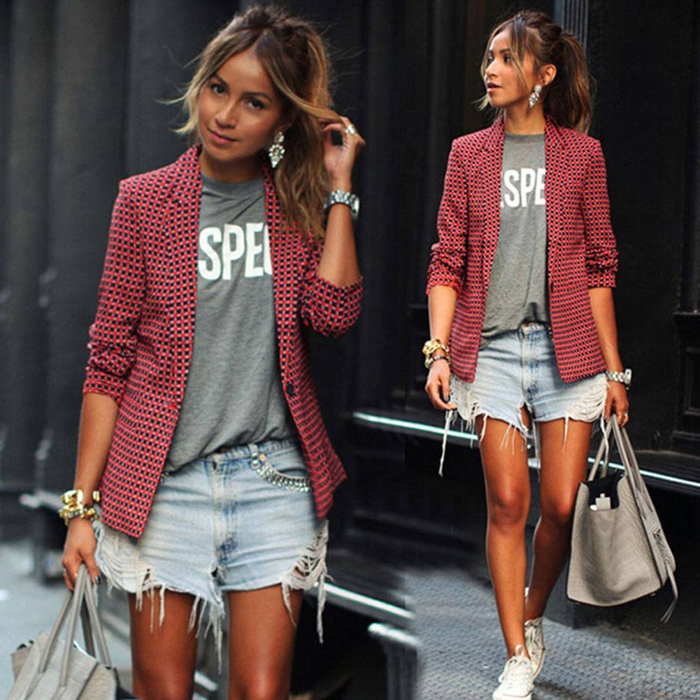 Women Lady Checker Blazer Parka Long Sleeve Jacket Outwear Overcoat Coat