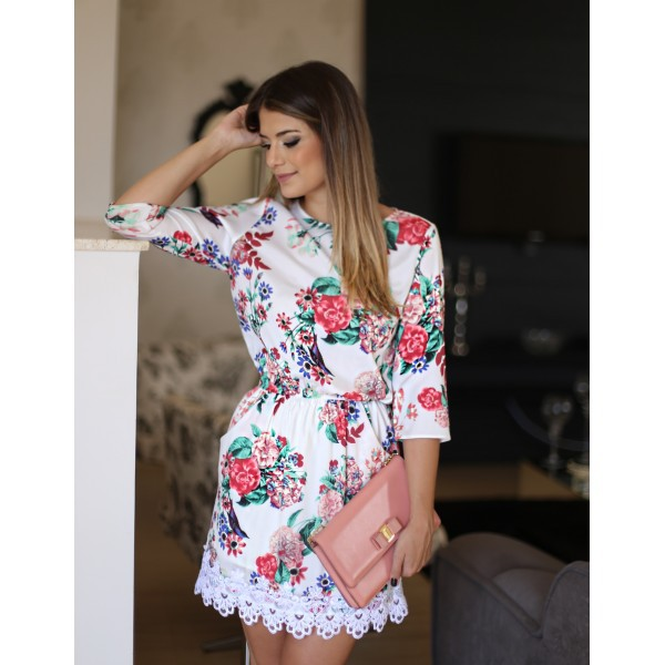 Women Floral Fashion Casual Crewneck Long Sleeve Lace Party Mini Dress