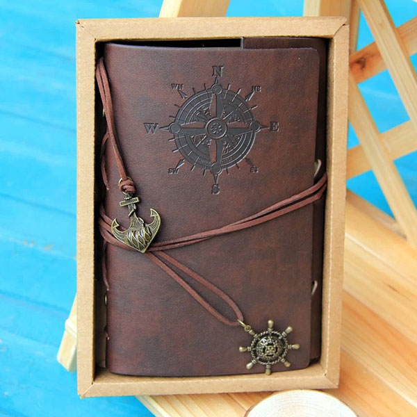Vintage Pirate Design Leather Cover Notebook Journal Blank Diary  Gift