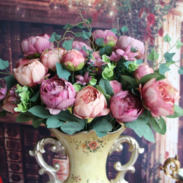 Artificial Fake Peony Silk Flowers Bridal Bouquet Hydrangea Home Wedding Decor