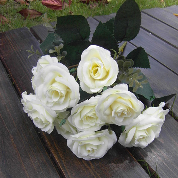 Artificial False Rose Silk Flowers 12 Flower Head Floral Wedding Decor NEW