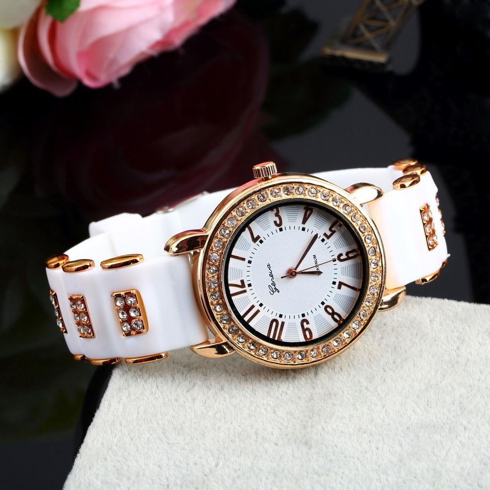 Geneva Crystal Women Girl Ladies Quartz Silicone Band Wrist Watch WristWatch