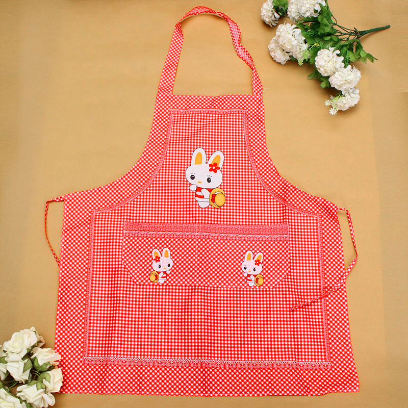 E26F-Cartoon-Apron-Rabbit-Kitchen-Double-Pocket-Household-Supply-Mothers-Adults