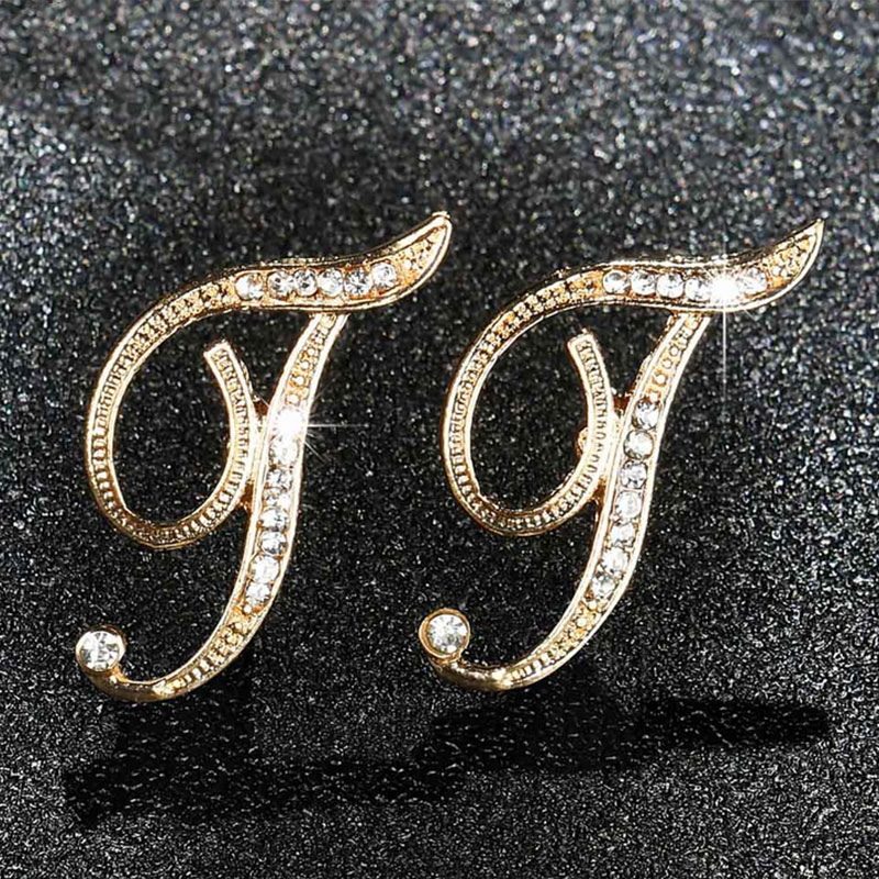 BC65-Women-039-s-Letter-Character-Ear-Studs-Alloy-Jewelry-Cool-Crystal-Earrings