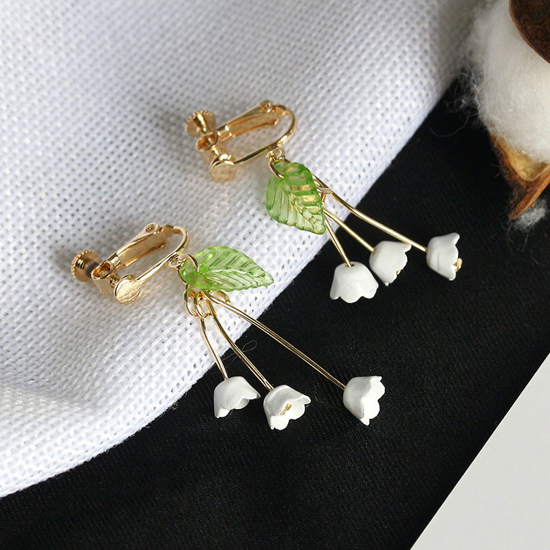 D3DC-Elegant-Flower-Tassel-Long-Earrings-Ear-Studs-Clip-Jewelry-For-Women-Girl