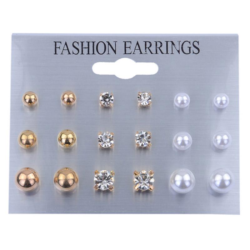 B963-9-Pairs-Women-039-s-Rhinestone-Crystal-Earring-Set-Ear-Stud-Earrings-Jewelry