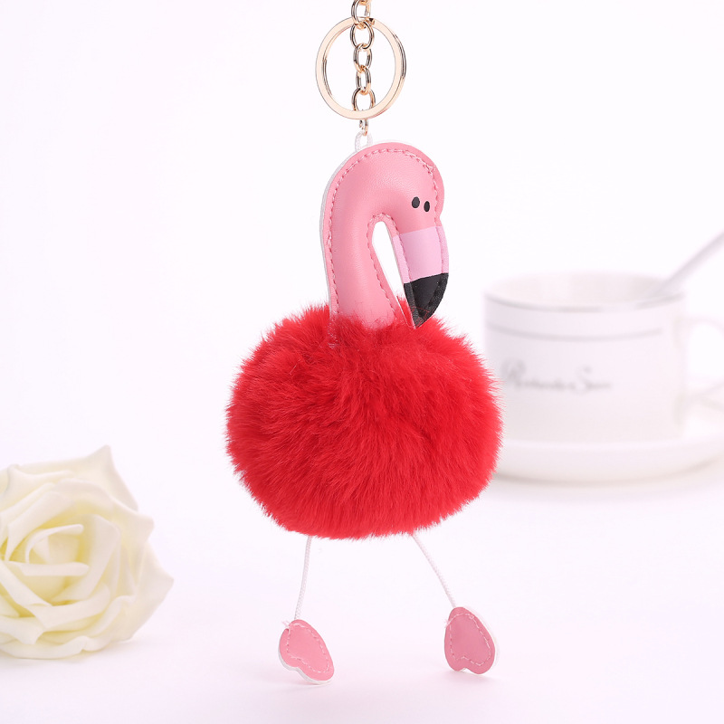 8495-Flamingo-Ladies-Keyring-Key-Chain-Ring-Charm-Pendant-Handbag-Great-Gift