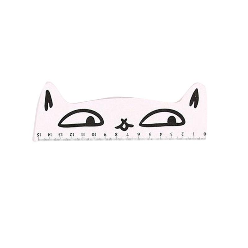 1C56-Lovely-Cartoon-Cat-Shape-Kitten-Wooden-Straight-Ruler-School-Supplies-15cm
