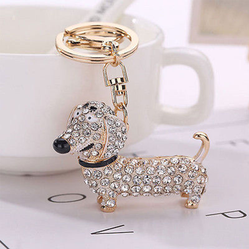 3BED-Dog-Rhinestone-Dachshund-Keychain-Purse-Pendant-Car-Holder-Key-Ring-Cool