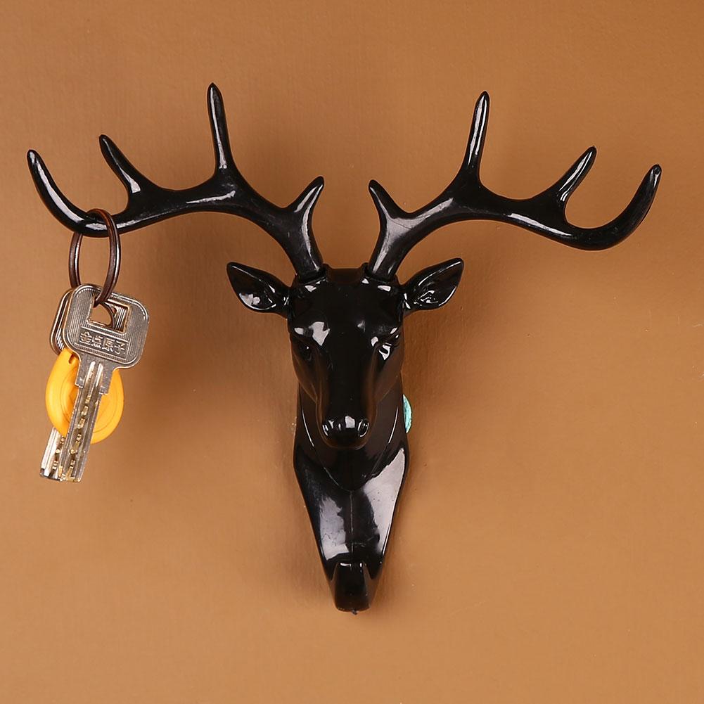 072C-Deer-Head-Hook-Antlers-Hanger-Rack-Keys-Holder-Wall-Mount-Home-Living-Room
