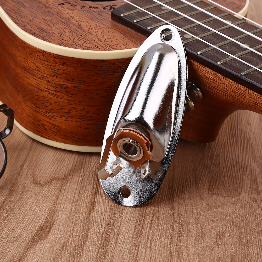 E9A1-Electric-Guitar-Output-Input-Jack-Plate-Socket-Boat-Shaped-Metal-For-START