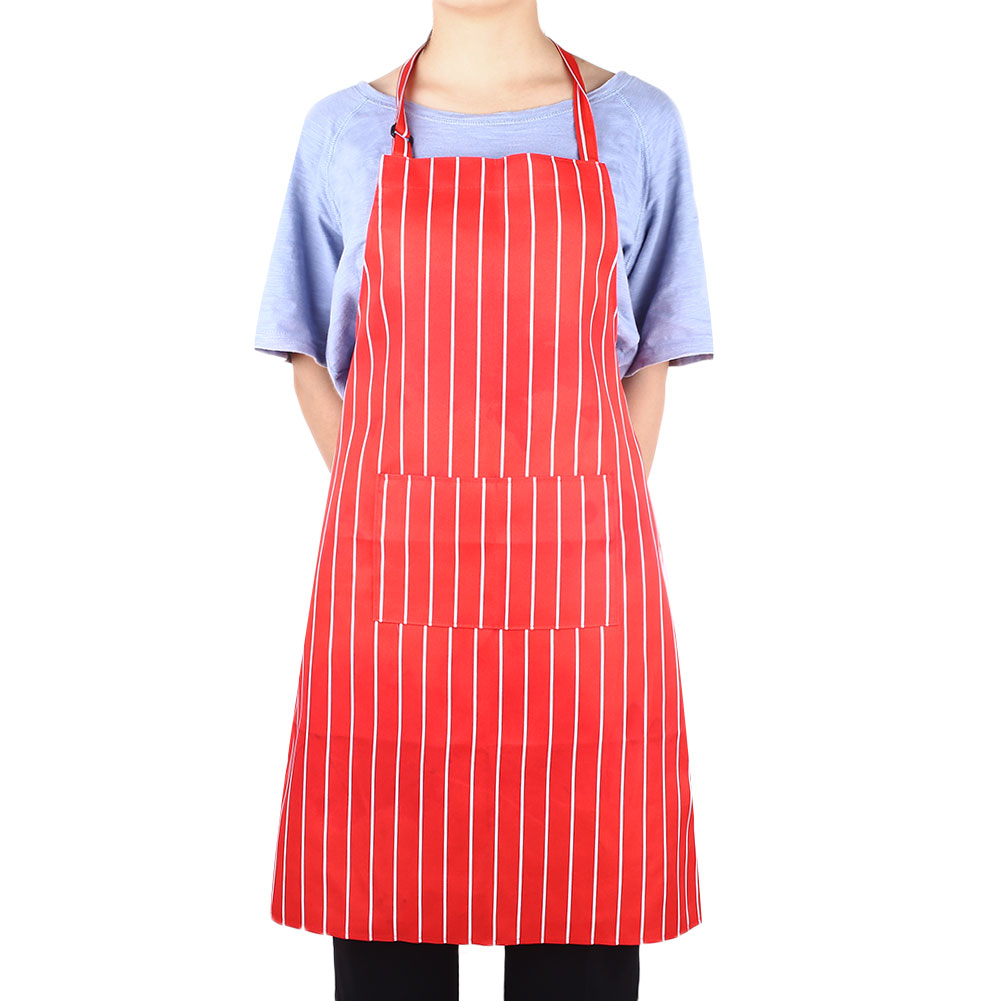 4029-Washable-Kitchen-Stripe-Grip-Pattern-Apron-Pocket-Chef-Cooking-Baking-Cafe