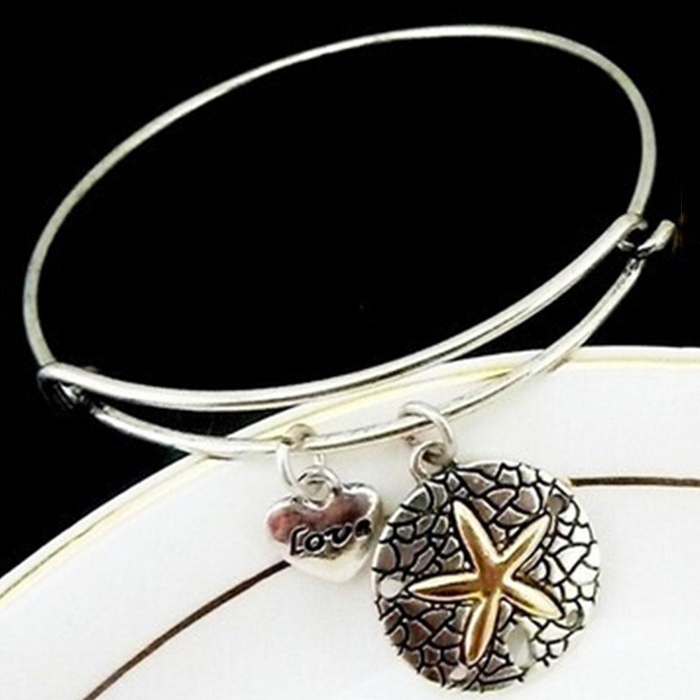 0727-Starfish-Sea-Star-Alloy-Pendant-Bracelet-Bangle-Fashion-Elegant-For-Lady