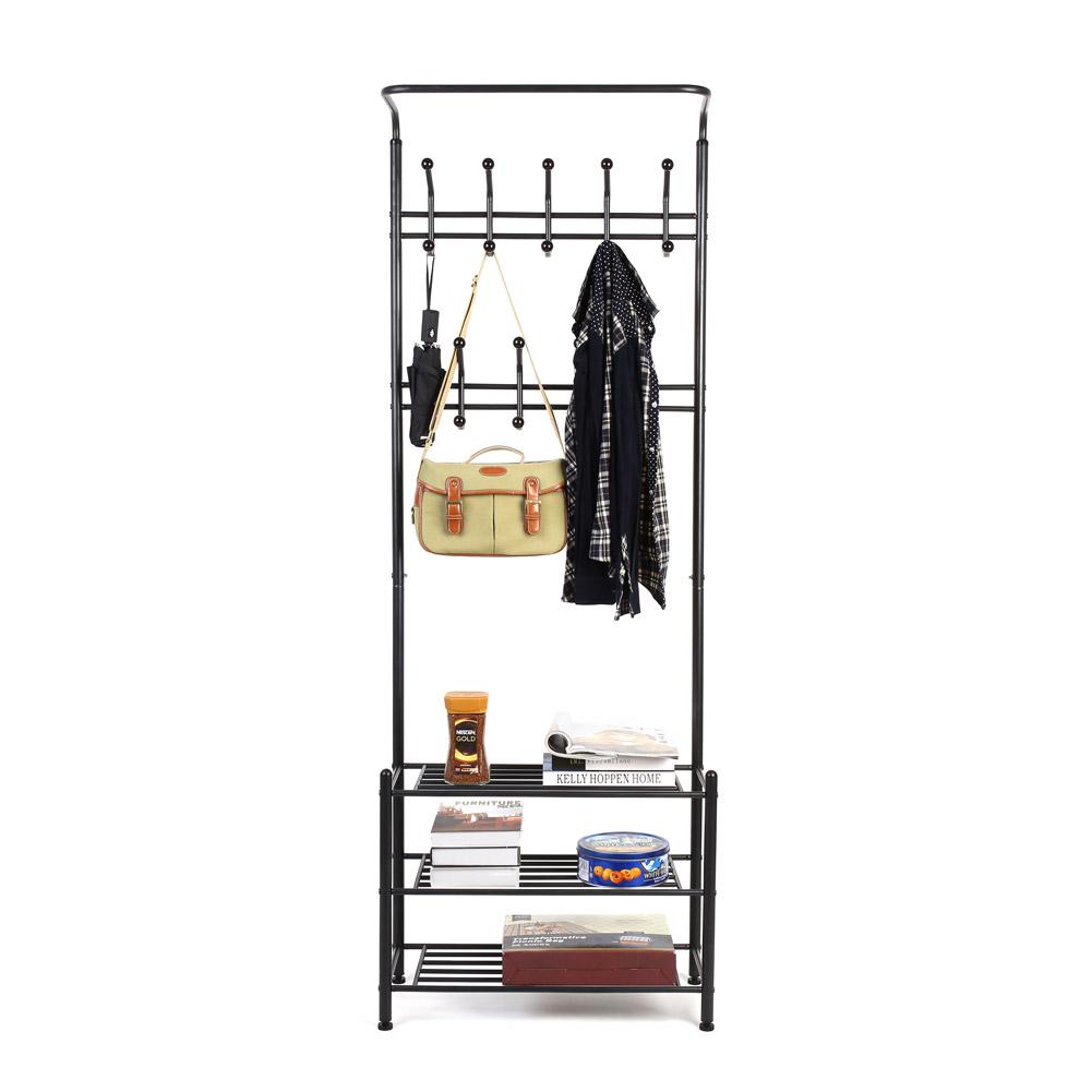 schwarz eisen wandregal schuhregal kleiderst nder garderobenst nder metallregal. Black Bedroom Furniture Sets. Home Design Ideas