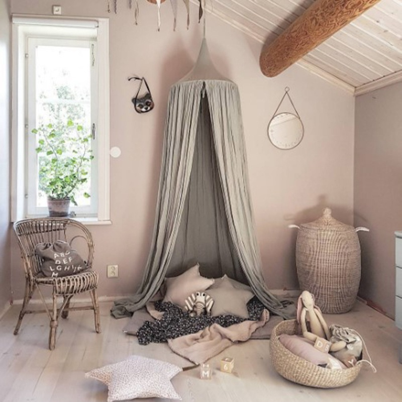 Hanging ring in center. Round dome bed canopy beautiful and functional. Decorate childrenu0027s room. For a little girls or boys room or a bedroom makeover & Kids Baby Bedding Round Dome Bed Canopy Netting Bedcover Mosquito ...