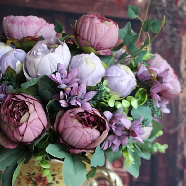 Artificial Fake Peony Silk Flowers Bridal Bouquet Hydrangea Home ...