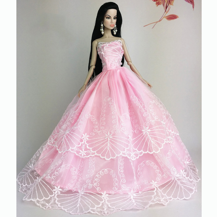 Handmade Wedding Gown Dresses Outfit Party For Barbie Doll Xmas ...