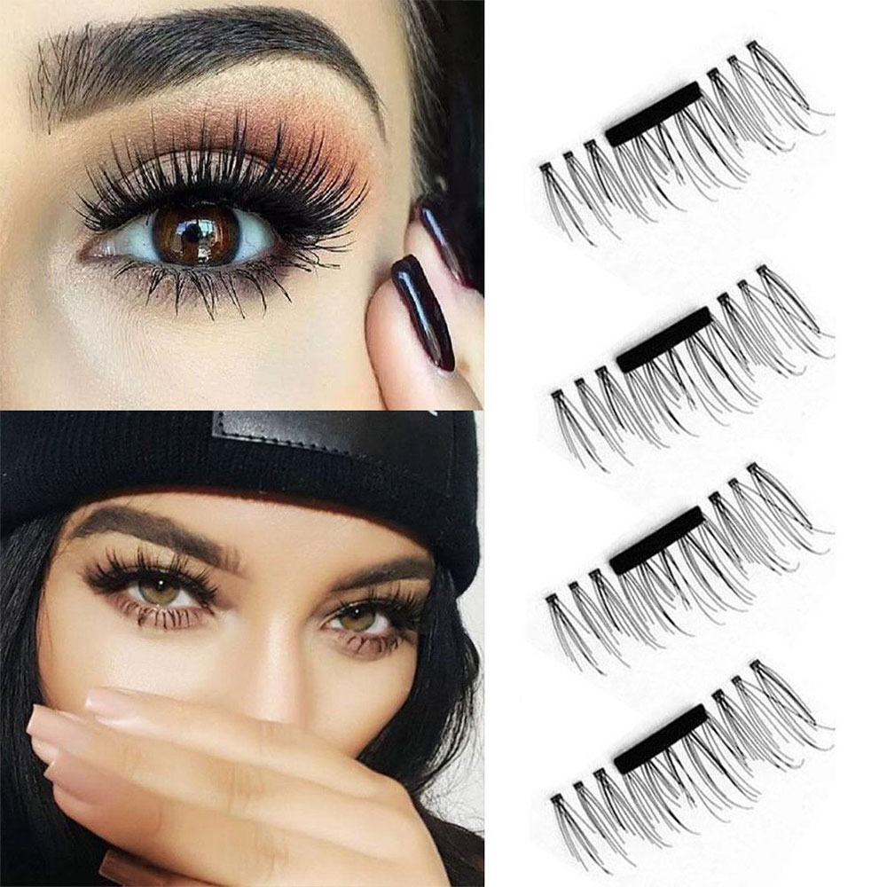 4pcs 3d Magnetic False Eyelash Fake Eyelashes Glue Colorful Makeup